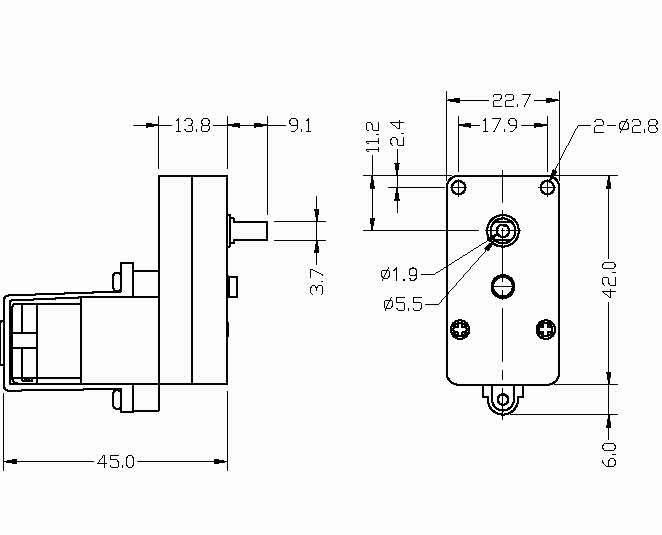 BO2 Series Motor Dimention