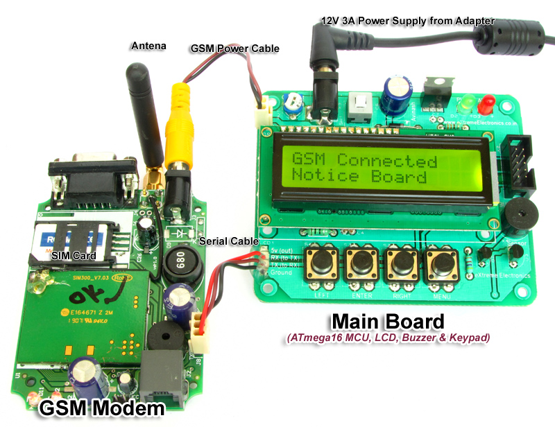 GSM Project at low cost. AVR ATmega16 MCU connected to SIM300 GSM ...