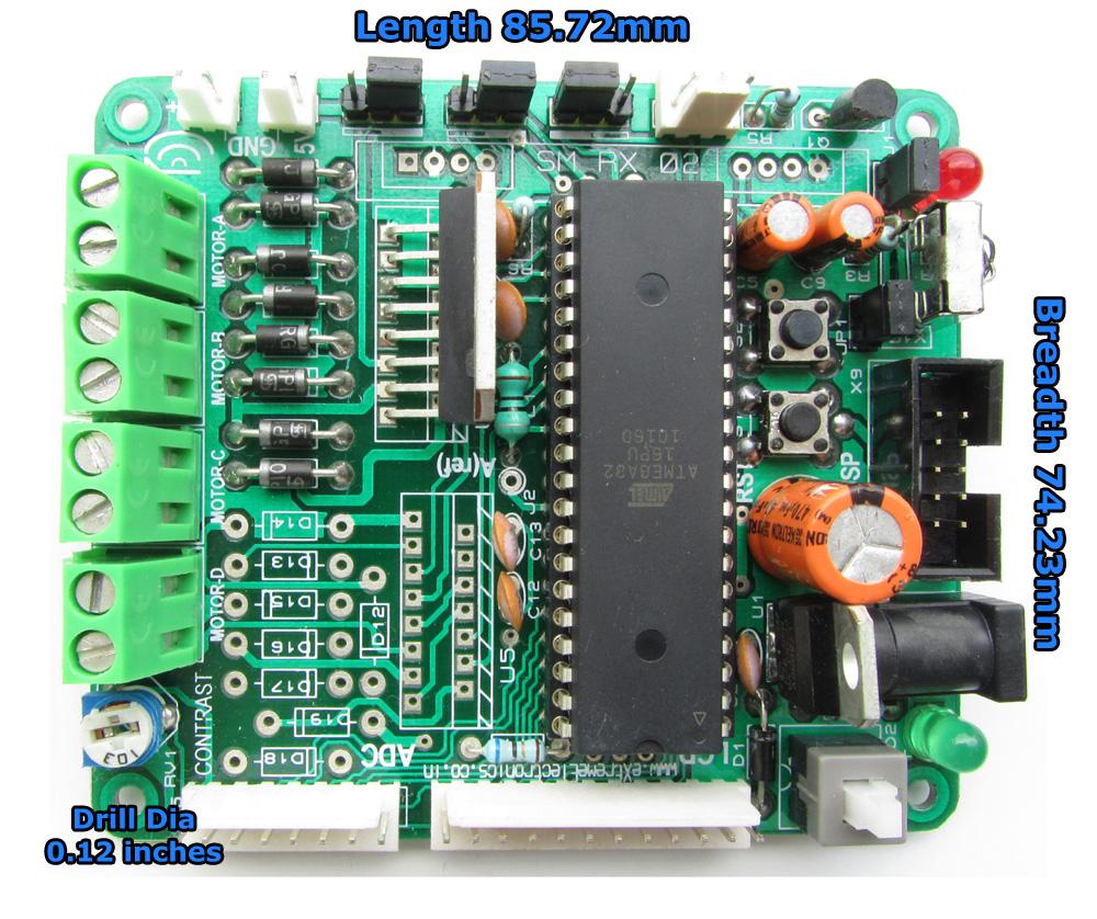 Avr Development Board For Atmega16 Atmega32 With Lcd Motor Driver Servo Control By Using Microcontroller Dev Xboard V20 Dimention