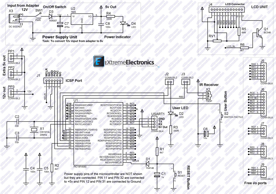 schematic for pic18f458 lcd