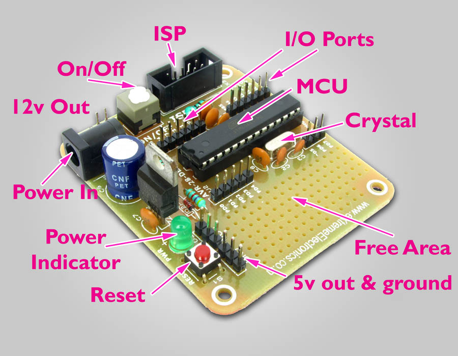 atmega8 avr development board parts
