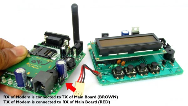 connection for gsm module and board