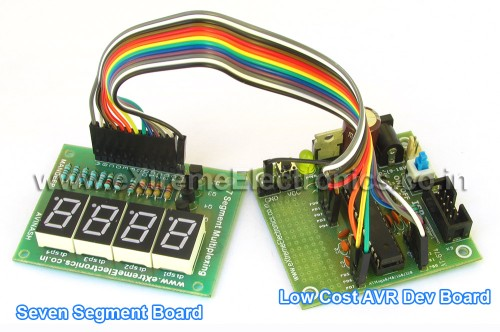 seven segment board and 28pin avr dev board