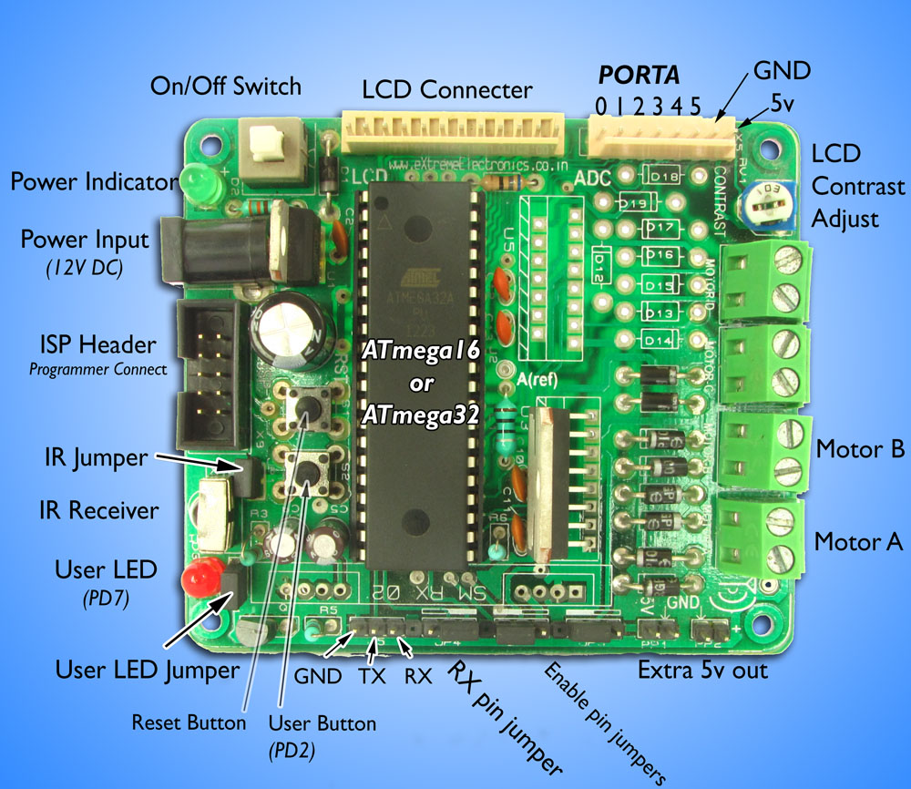 ATmega16 development board parts
