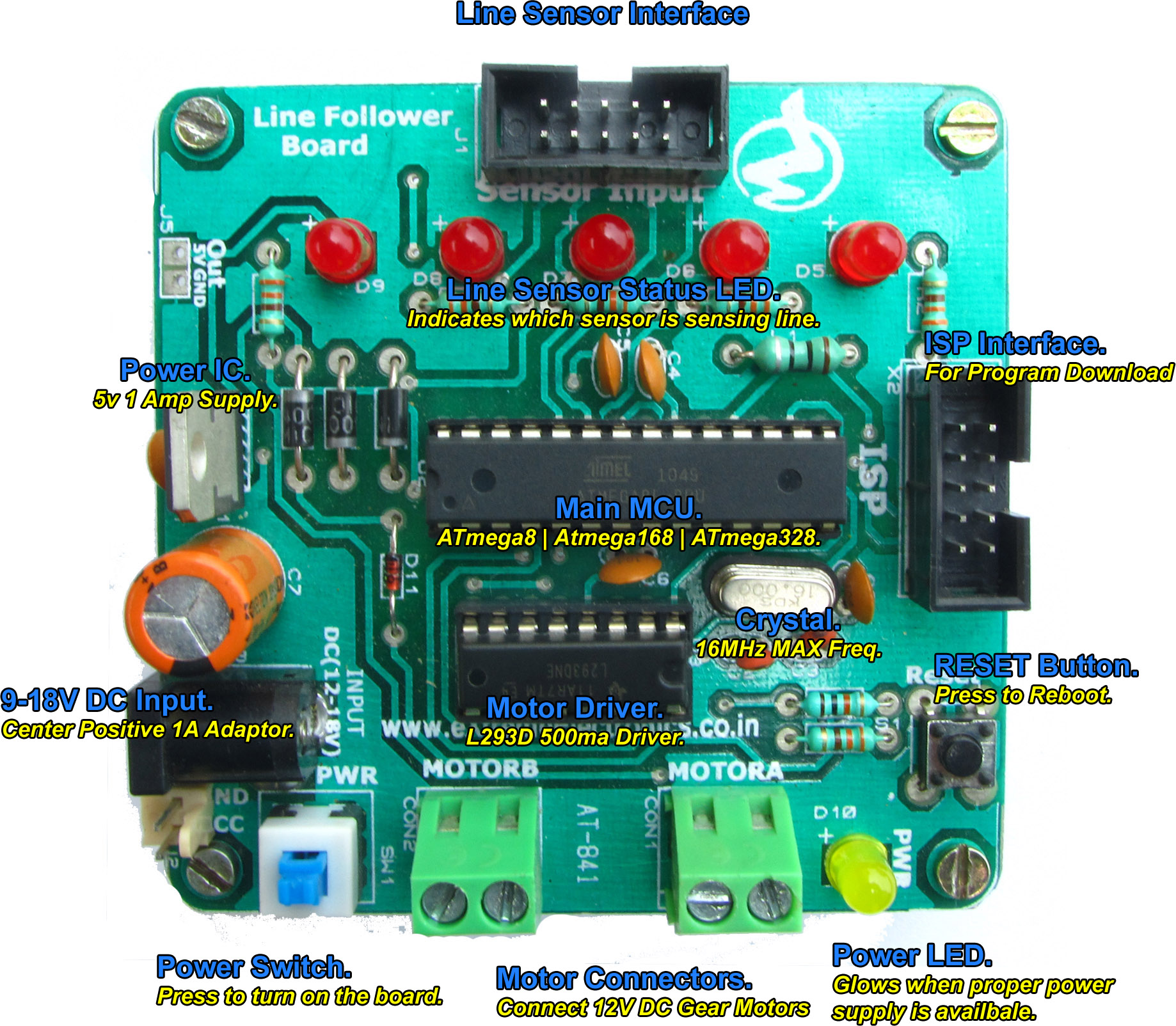 Line Following Robot Board With Avr Atmega8 And L298 Motor Driver Follower Circuit Know Your